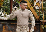 Men Tactical Military Frog Combat Shirt,100% Polyester Camo T Shirt,Camo Long Sleeve Shirt